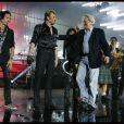 Photos exclusives, reproduction interdite : Johnny Hallyday a fêté ses 69 ans au Stade de France le 15 juin et donné 3 concerts les 15,16 et 17 Juin. Alain Delon est monté sur scène pour fêter les 69 ans du Taulier.