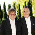 Elton John et David Furnish lors du 14e White Tie and Tiara Ball, organisé par leurs soins et Chopard, à Old Windsor, le 28 juin 2012.