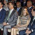 Le prince Felipe et la princesse Letizia le 3 juillet 2012 à Madrid pour la remise des bourses et subventions de la Fondation Iberdrola pour l'innovation environnementale.
