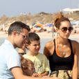 Robin van Persie, sa femme Bouchra et ses enfants Shaqueel et Dina le 10 juillet 2012 sur l'île de Formentera