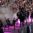 Lady Gaga à cheval en plein Born This Way Ball à Bucarest, le 16 août 2012.