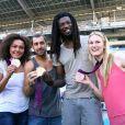 Les Experts champions olympiques Daouda Karaboue et Mickaël Guigou étaient les invités de l'Olympique de Marseille aux côtés des médaillées de bronze et d'argent en taekwondo Marlene Harnois et Anne-Caroline Graffe le 19 août 2012 lors du match de Ligue 1 face à Sochaux (2-0)