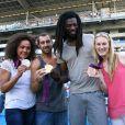 Les Experts champions olympiques Daouda Karaboue et Mickaël Guigou étaient les invités de l'Olympique de Marseille aux côtés des médaillés de bronze et d'argent en taekwondo Marlene Harnois et Anne-Caroline Graffe le 19 août 2012 lors du match de Ligue 1 face à Sochaux (2-0)