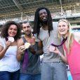 Les Experts champions olympiques Daouda Karaboue et Mickaël Guigou étaient accompagnés des charmantes médaillées de bronze et d'argent en taekwondo Marlene Harnois et Anne-Caroline Graffe le 19 août 2012 lors du match de Ligue 1 face à Sochaux (2-0)