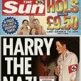 """Le prince Harry en une de  The Sun  en 2005, en nazi"""
