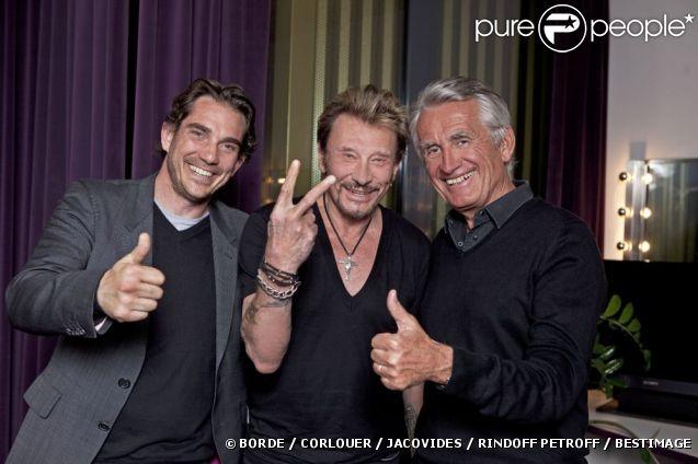 EXCLU : Le manager Sébastien Farran, Johnny Hallyday et le producteur Gilbert Coullier pour le lancement de la tournée à Montpellier, mai 2012.