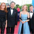 Philippe Augier (maire de Deauville) et  Charles H. Rivkin (ambassadeur des Etats-Unis d'Amérique en France et à Monaco)  lors de la cérémonie d'ouverture du 38e Festival du cinéma américain de Deauville, le 31 août 2012.