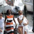 Beyoncé et Jay-Z quittent leur yacht avec leur fille Blue Ivy, le 8 septembre 2012 à Beaulieu-sur-mer