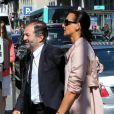Inès de la Fressange et Denis Olivennes au mariage de Farida Khelfa et Henri Seydoux à la mairie du 17 arrondissement de Paris, le 1er septembre 2012.