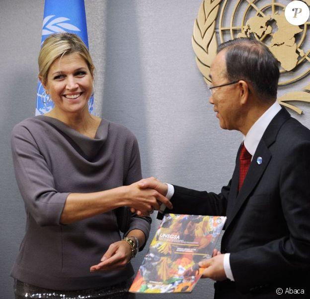 La princesse Maxima des Pays-Bas avec Ban-Ki Moon lors de l'assemblée générale de l'ONU, le 24 septembre 2012