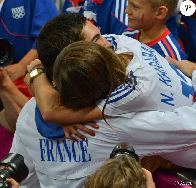Géraldine Pillet, compagne de Nikola Karabatic, lors de la finale olympique entre la France et la Suède à Londres le 12 août 2012