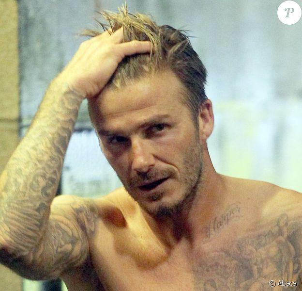 David Beckham torse nu après la défaite de son équipe à Carson, le 6 octobre 2012.