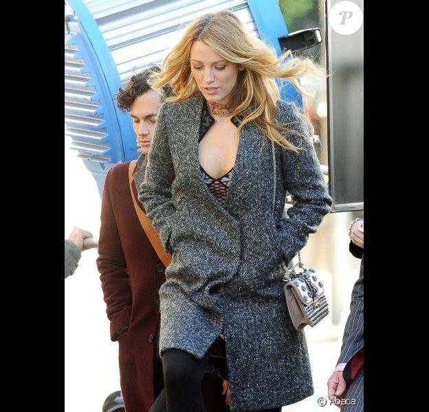 Blake Lively sur le tournage de Gossip Girl, à New York, le 11 octobre 2012
