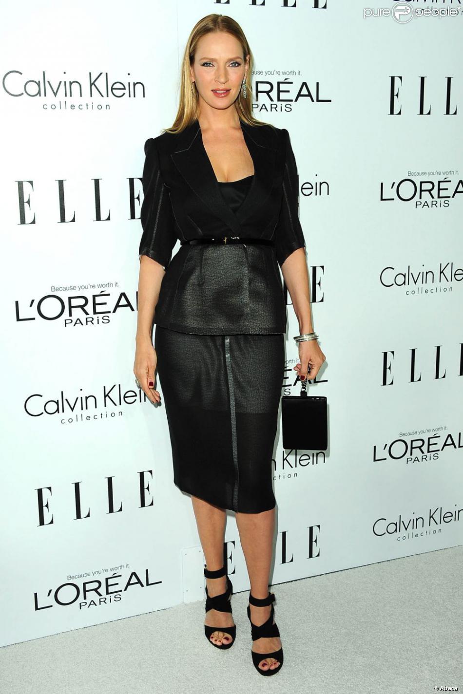 Uma Thurman à la 19ème soirée annuelle ELLE Women à Hollywood le 15 octobre 2012.