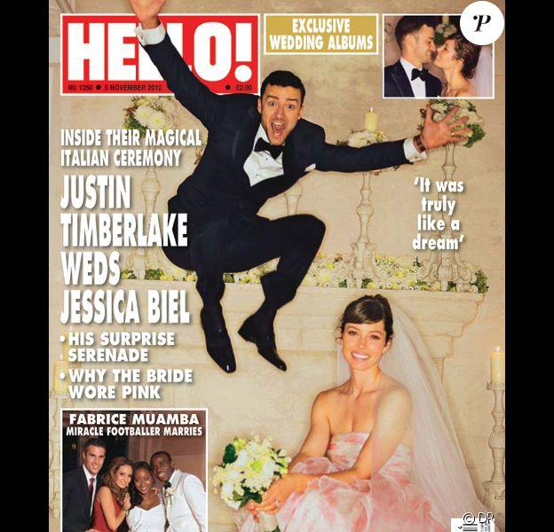 Couverture de Hello Magazine avec Jessica Biel et Justin Timberlake