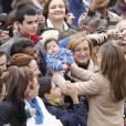 Felipe et Letizia d'Espagne en visite à Caspe, dans la région autonome d'Aragon, pour le 600e anniversaire du Compromis de Caspe, le 7 novembre 2012.
