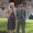 Leonardo DiCaprio et Joanna Lumley sur le tournage de  The Wolf of Wall Street  à Prospect Park dans Brooklyn à New York, le 20 novembre 2012.