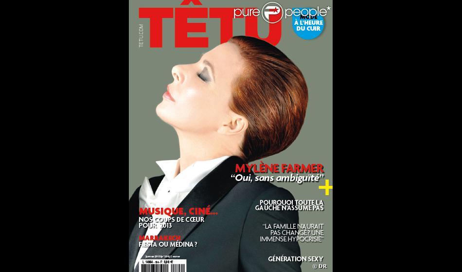 Mylène Farmer en couverture de  Têtu , en kiosques le 19 décembre 2012.