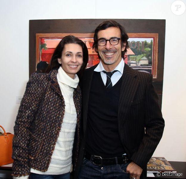 Adeline Blondieau et son compagnon Laurent Hubert au Vernissage de l'exposition 'Amerique - Instantanés' de Laurent Hubert a la galerie Myriane du village, le 13 décembre 2012