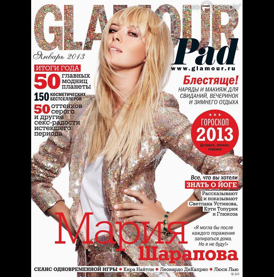 Maria Sharapova fait la couverture de l'édition russe du magazine Glamour du mois de janvier 2013