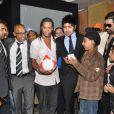 Ronaldinho lors de la conférence de presse de lancement du film d'animation  R-10 , dont il sera le héros, au Meridien Hotel de Pune, en Inde, le 28 décembre 2012.