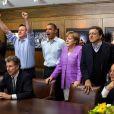 Pause football lors du sommet du G8 devant la finale de la Ligue des champions opposant Chelsea au Bayern de Munich. Barack Obama, Angela Merkel, David Cameron et François Hollande lequel fait ses premiers pas sur la scène internationale. Nous sommes le 19 mai 2012 dans la résidence du président américain à Camp David.