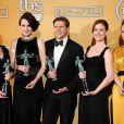 Le casting drama de Downton Abbey avec Phyllis Logan, Michelle Dockery, Allen Leech, Amy Nuttall et Sophie McShera lors des Screen Actors Guild (SAG) Awards à Los Angeles, le 27 janvier 2013.