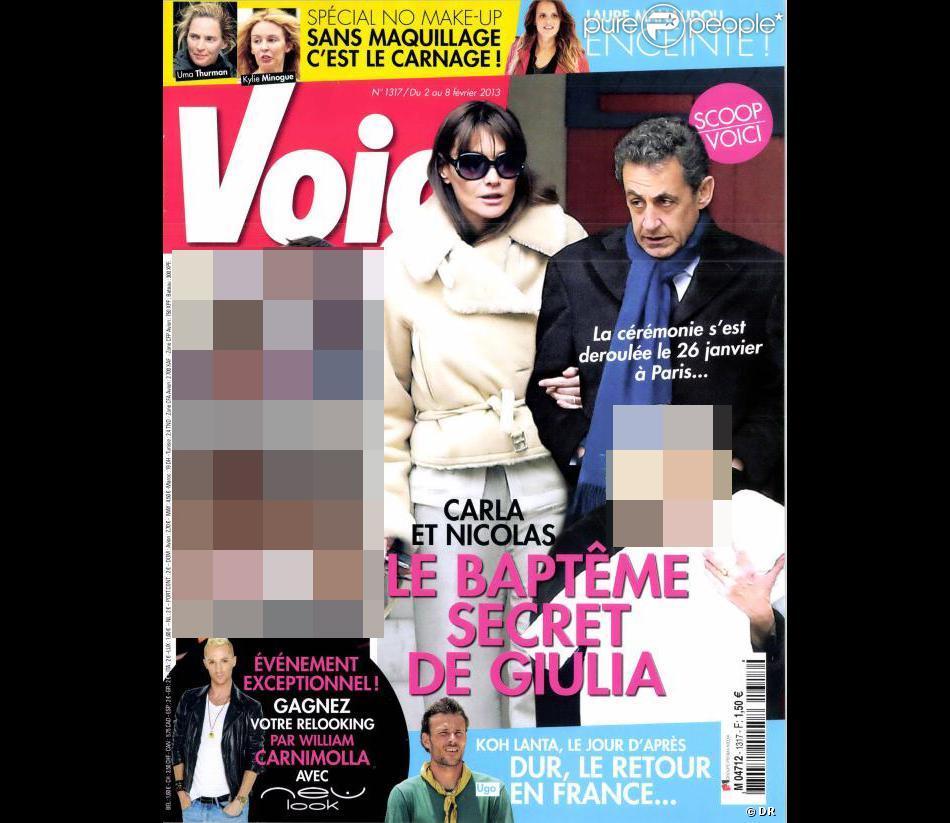 La couverture du magazine Closer du 2 février 2013 avec les photos du baptême secret de Giulia Sarkozy