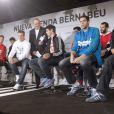 Les joueurs du Read de Madrid lors de l'inauguration de la nouvelle boutique Adidas au stade Santiago Bernabeu de Madrid le 21 février 2013