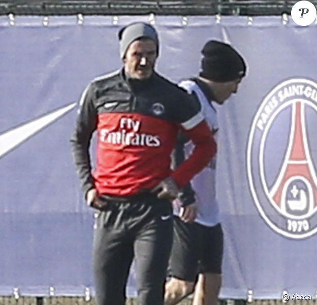 David Beckham à l'entraînement avec le PSG, au Camp des Loges, le 19 février 2013