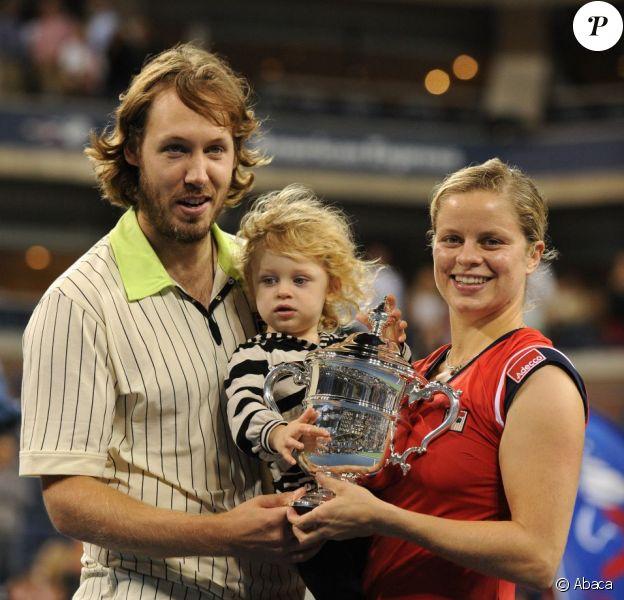 Kim Clijsters, son mari Brian Lynch et leur fille Jada lors de sa victoire à l'US Open le 13 septembre 2009 à New York