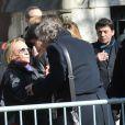 Le chanteur Christopheau cimetière Montmartre à Paris le 14 mars 2013, pour l'inhumation de Daniel Darc.