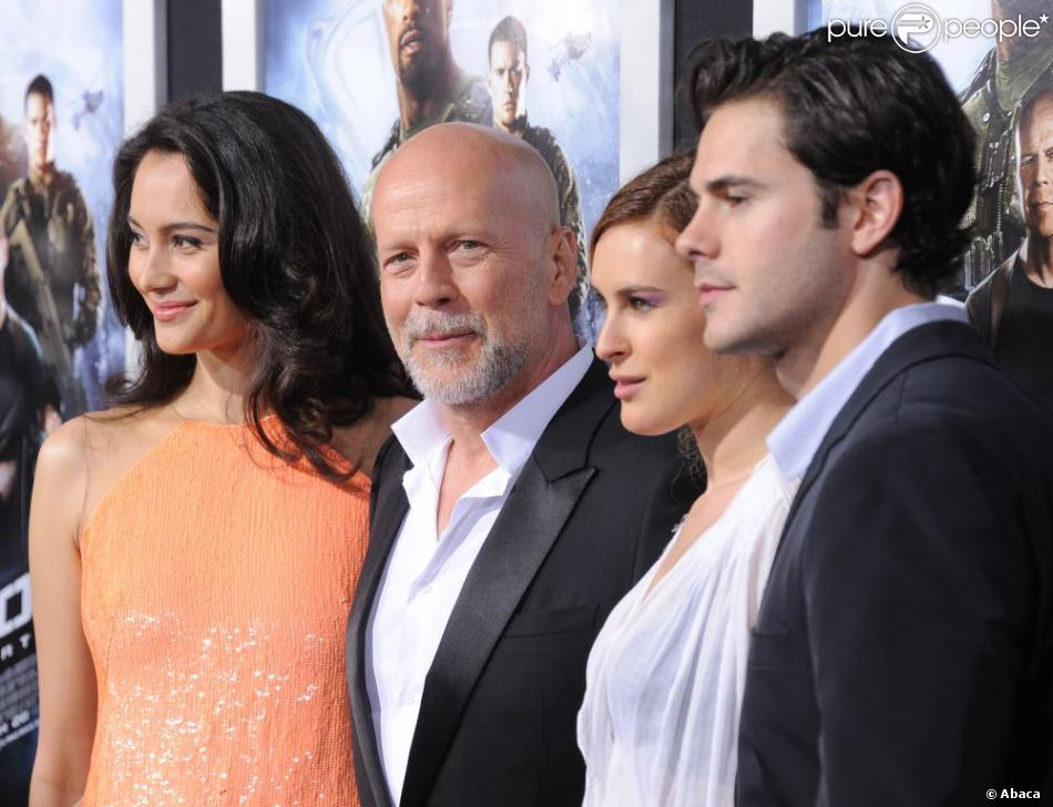 Emma Heming, Bruce Willis et sa fille Rumer Willis au côté de son boyfriend Jayson Blair lors de la première de G.I. Joe : Conspiration au TCL Chinese Theatre de Hollywood, Los Angeles, le 28 mars 2013.