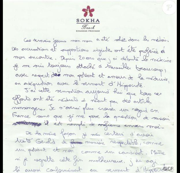 Thierry Costa, médecin du jeu Koh Lanta, avait laissé une lettre avant de se donner la mort le 1er avril 2013 - Recto
