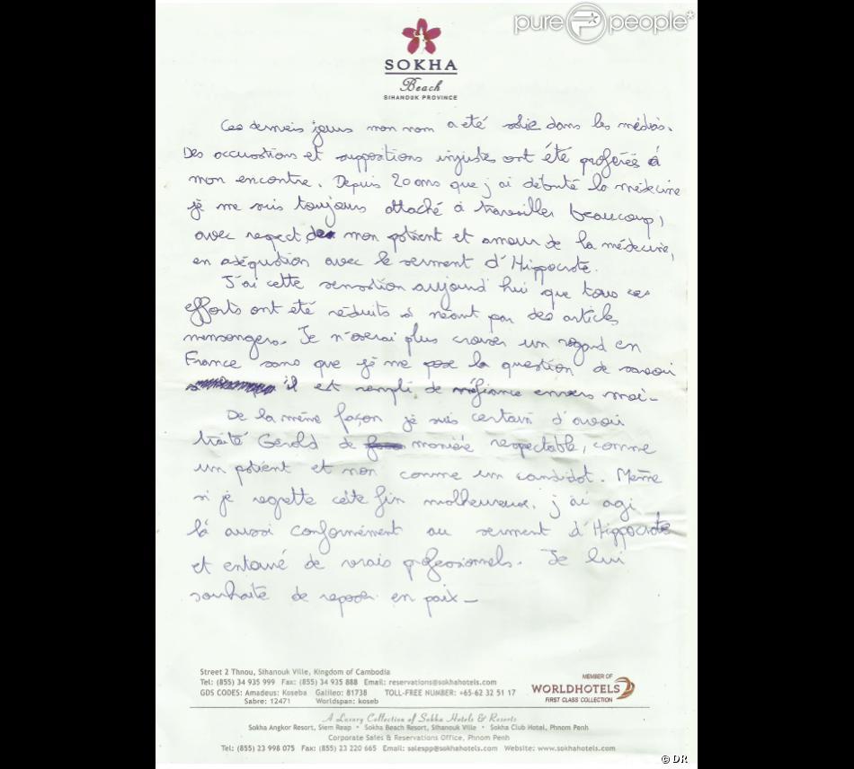 lettre koh lanta Koh Lanta   Suicide du médecin Thierry Costa : Sa lettre d'adieu  lettre koh lanta