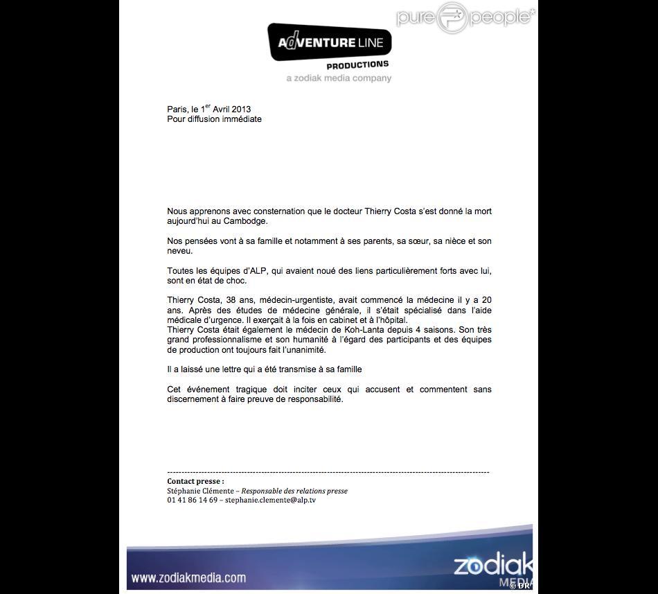 Communiqu d 39 alp annon ant le suicide de thierry costa m decin de koh la - Lettre de motivation koh lanta ...