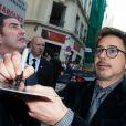 """Robert Downey Jr. lors de l'avant-première de """"Iron Man 3"""" au Grand Rex à Paris le 14 avril 2013"""