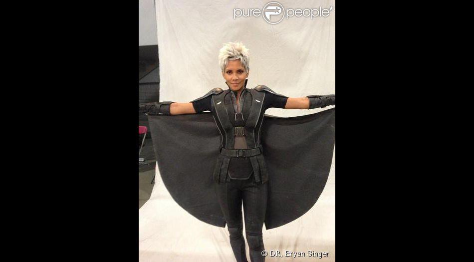 Halle Berry dans la peau de Tornade (Storm) sur le tournage de X-Men : Days of Future Past.