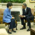 Le président des États-Unis Barack Obama et le président de la Corée du Sud Park Geun-hye lors d'une conférence de presse à la Maison Blanche. Le 7 mai 2013.