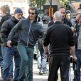 Paul Giamatti et Andrew Garfield sur le tournage de The Amazing Spider-Man 2 à New York, le 13 mai 2013.