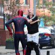 Andrew Garfield se bat face à un Paul Giamatti en calçon sur le tournage de The Amazing Spider-Man 2 à New York, le 13 mai 2013.