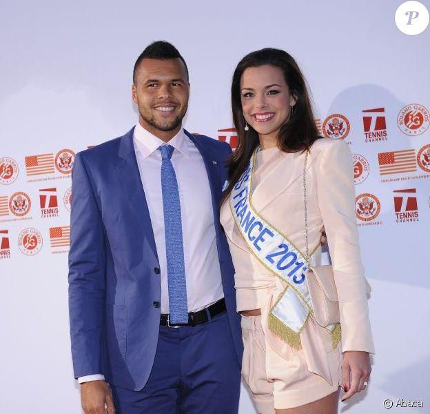 Jo-Wilfried Tsonga et Marine Lorphelin, Miss France 2013, lors de la soirée des joueurs de Roland-Garros qui se déroulait à la Résidence de l'Ambassadeur des Etats-Unis à Paris le 24 mai 2013