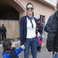 Elisabetta Gregoraci, Flavio Briatore et leur fils Nathan Falco Briatore dans les allées du paddock du Grand Prix de F1 de Monaco le 25 mai 2013