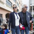 Elisabetta Gregoraci, Flavio Briatore et leur fils Nathan Falco dans les allées du paddock du Grand Prix de F1 de Monaco le 25 mai 2013