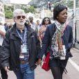 George Lucas, Mellody Hobson dans les allées du paddock du Grand Prix de F1 de Monaco le 25 mai 2013