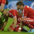Franck Ribéry et ses partenaires du Bayern Munich en pleurs après leur victoire en finale de la Ligue des Champions face au Borussia Dortmund (2-1), le 25 mai 2013 au stade de Wembley à Londres