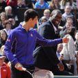 Novak Djokovic et Tedy Rinner lors de la Journée des Enfants de Roland-Garros la veille du début du tournoi, le 25 mai 2013