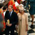 Cérémonie à l'abbaye de Wesminster, à Londres, le 4 juin 2013, commémorant les 60 ans du couronnement de la reine Elizabeth II, assuré par l'archevêque de Canterbury Justin Welby et le doyen de Westminster John Hall.