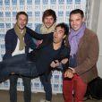 Gregory Cuilleron, Romain Tischenko, Paul-Arthur Berlan et Alex Goude à la soirée d'inauguration du Bar à Tartines Philadelphia, à Paris, le 4 juin 2013