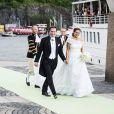 Mariage de la princesse Madeleine de Suède et Chris O'Neill le 8 juin 2013 à Stockholm. Les jeunes mariés ont embarqué les derniers à bord du SS Stockholm pour Drottningholm, où avait lieu la réception.